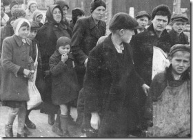 Jewish women and children from Subcarpathian Rus who have been selected for death at Auschwitz-Birkenau, walk to gas chambers